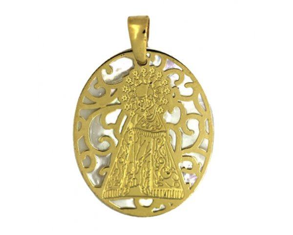 Medalla Virgen de los Desamparados Dorada Ovalada