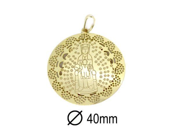 Medalla Virgen de Montserrat 40 mm Dorada