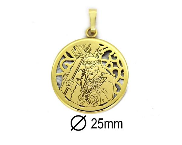 Medalla Cristo del Calvario 25 mm Dorada