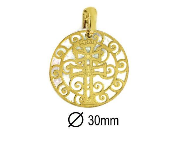 Medalla Cruz Caravaca Dorada 30 mm