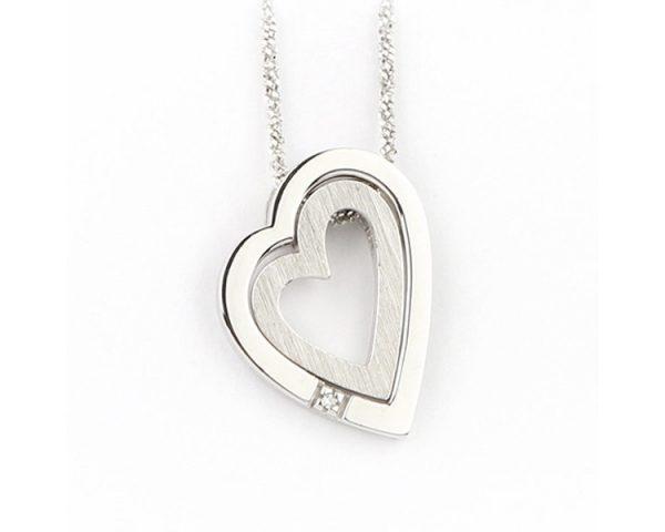 Colgante Doble Corazón Diamante Finor