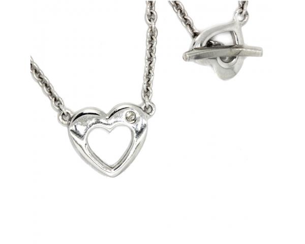 Colgante Corazón Plata y Brillante Cierre Corazón