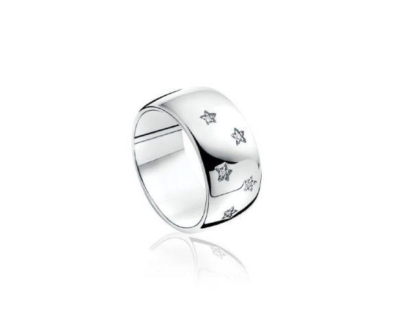 Sortija Estrellas Plata y Diamantes Zinzi