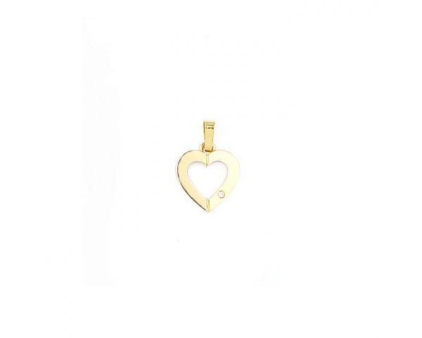 Colgante Corazón Oro y Brillante Finor