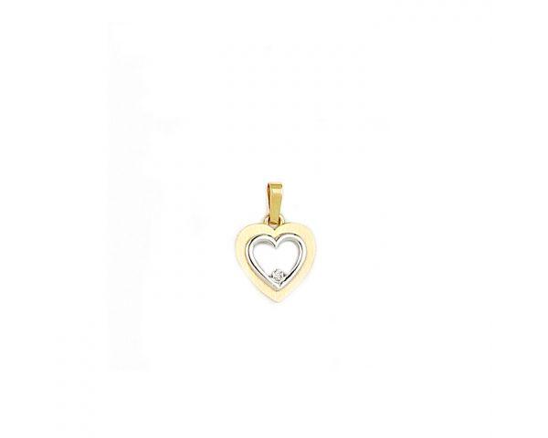 Colgante Bicolor Corazón Oro y Brillante Finor