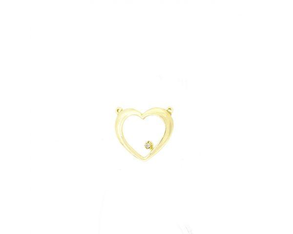 Colgante con Cadena Corazón Oro y Brillante Finor