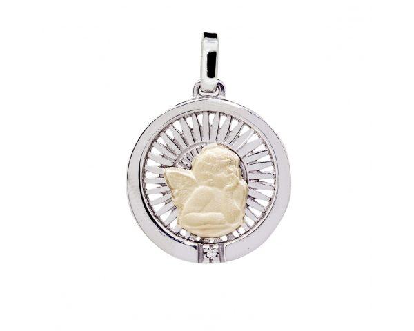 Medalla Ángel Oro 18k, Plata y Brillante