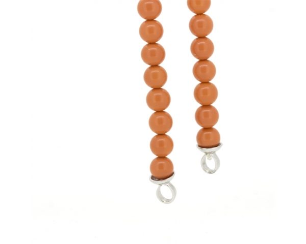 Pulsera plata y perlas naranjas
