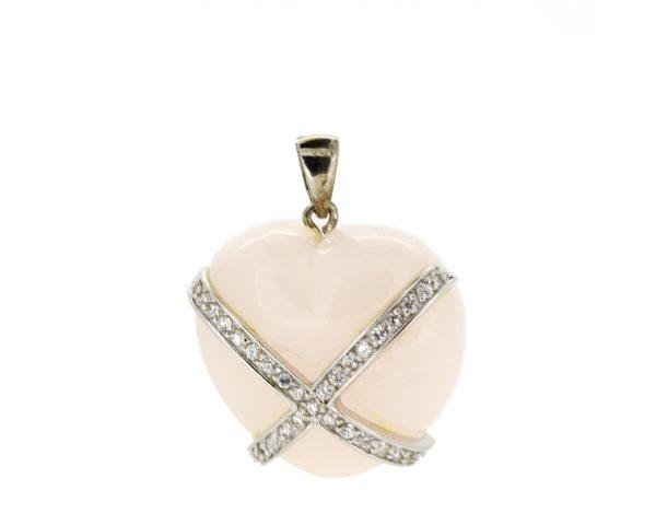 Colgante corazón piedra rosa