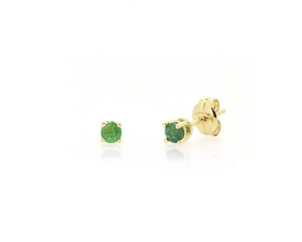 Pendientes oro amarillo y esmeralda 3.5mm