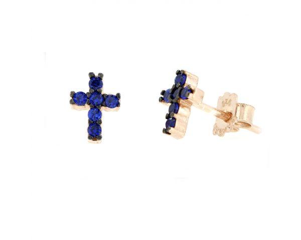 Pendientes cruz azul
