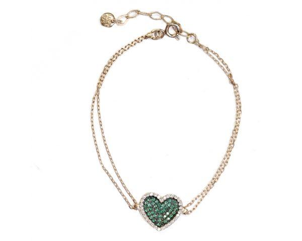 Pulsera corazón verde