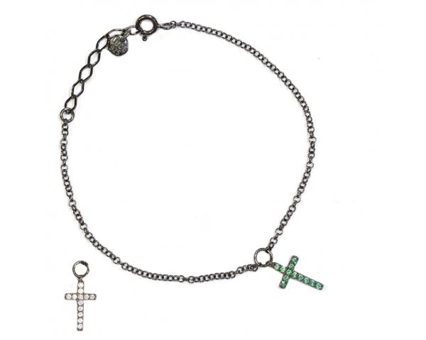 Pulsera cruz blanca y verde