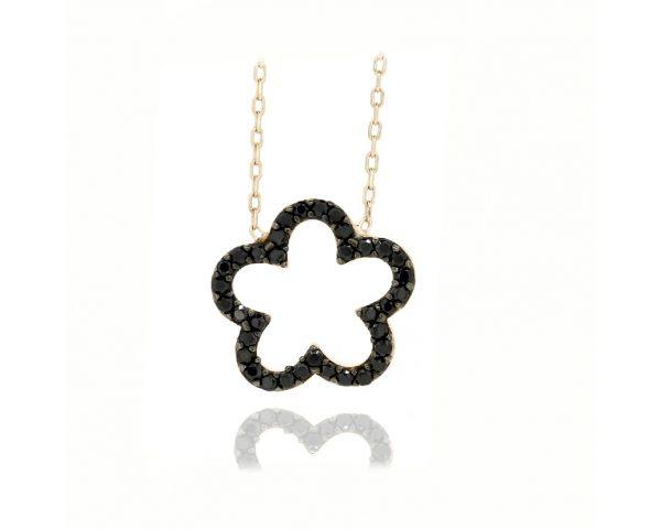 Gargantilla flor negra