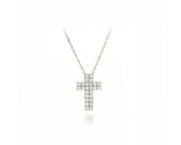 Gargantilla cruz blanca
