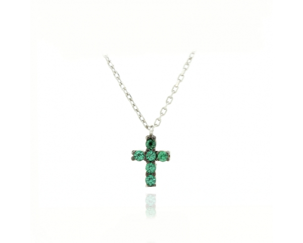 Gargantilla cruz verde mini