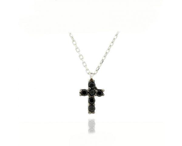 Gargantilla cruz mini negra