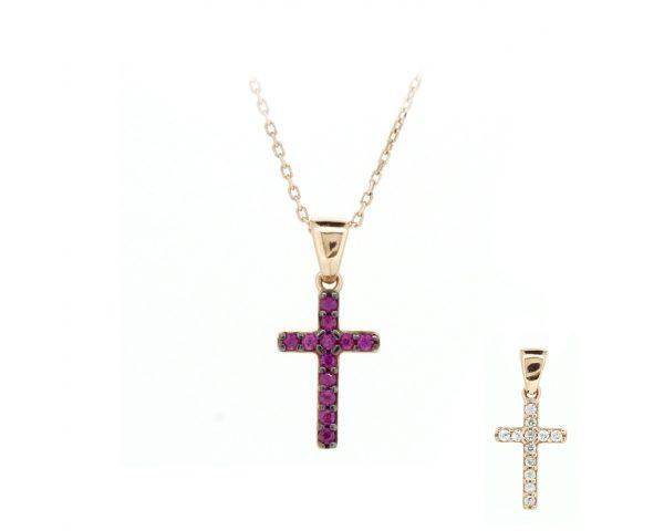 Gargantilla cruz rosa y blanca