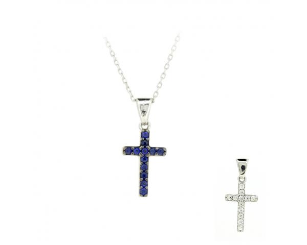 Gargantilla cruz azul y blanca