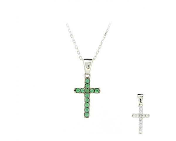 Gargantilla cruz verde y blanca