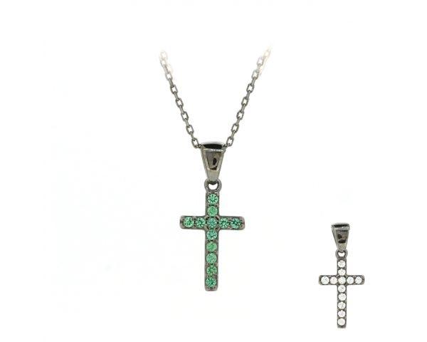 Gargantilla cruz blanca y verde