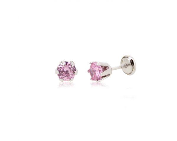 Dormilones de plata circón rosa