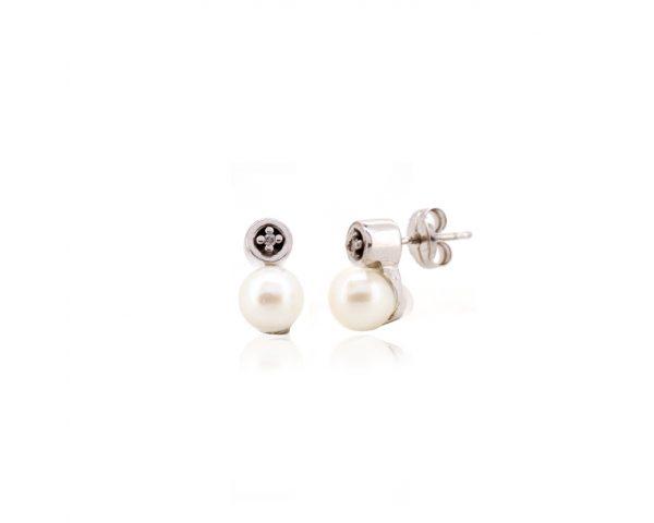 Pendientes plata y diamante y perla